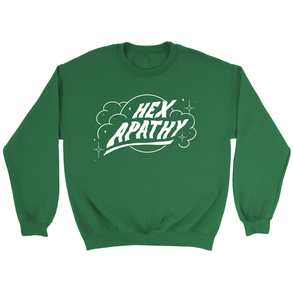 Hex Apathy Fleece Sweatshirt - 7 Colors Available (white print)