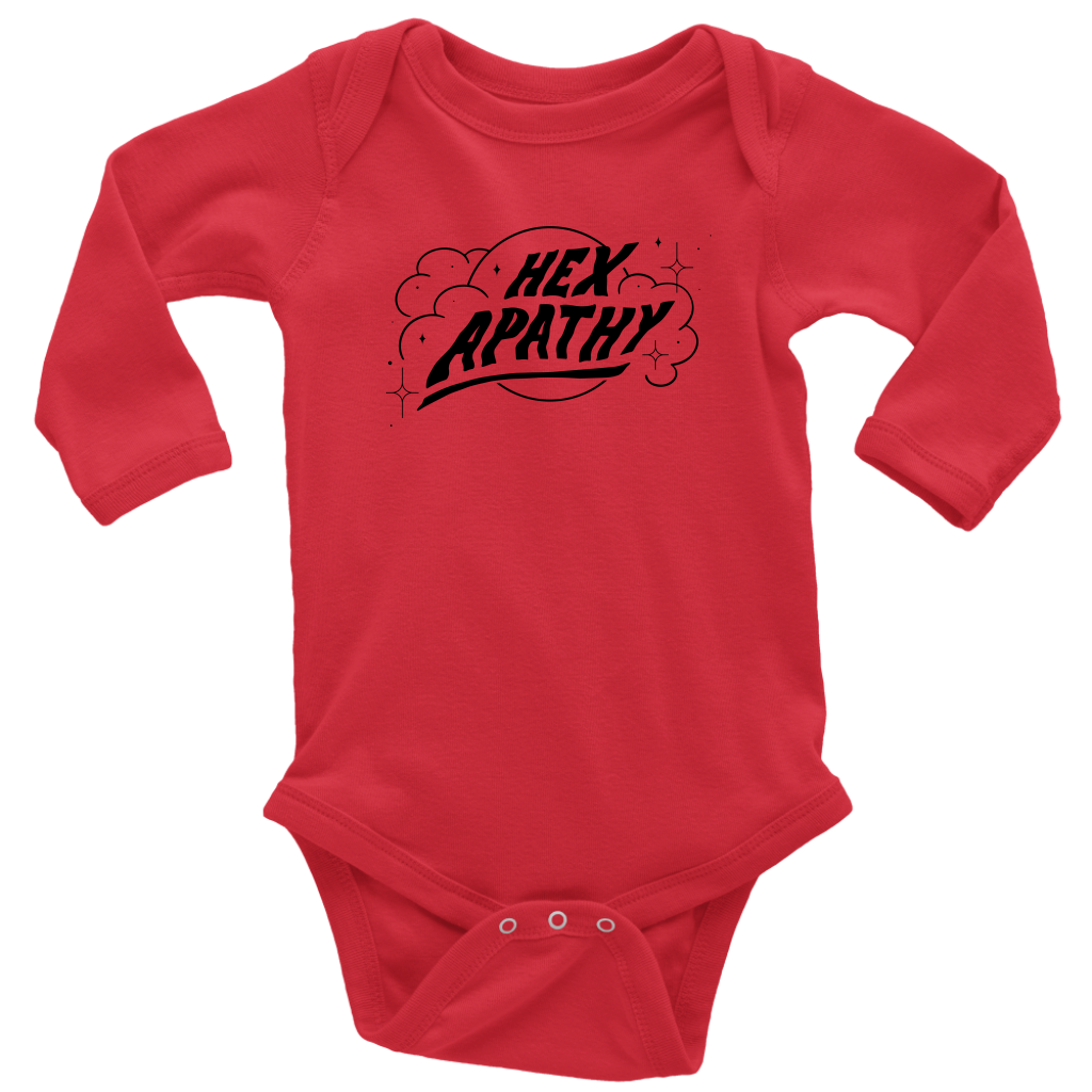 Hex Apathy Infant Long Sleeve Bodysuit - 5 Colors Available (black print)
