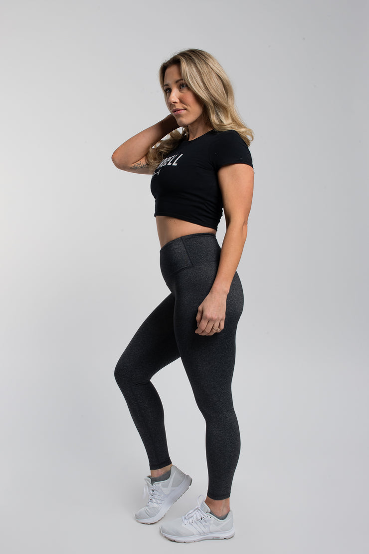 Barbell Crop Tee in Black