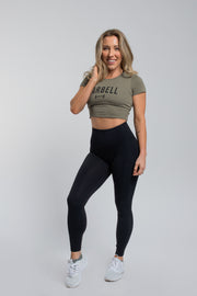 Barbell Crop Tee in Olive