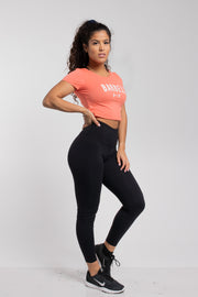 Barbell Crop Tee in Coral