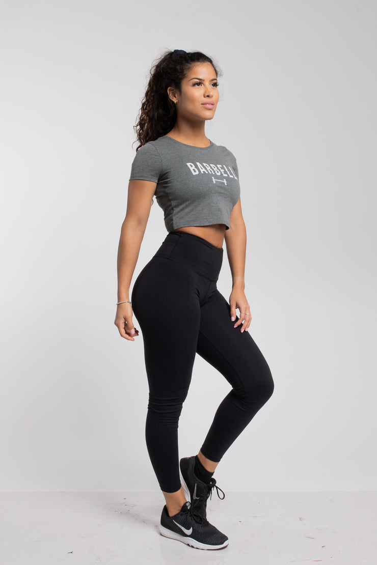 Barbell Crop Tee in Heather