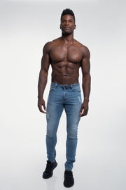 Slim Athletic Fit in Destroyed Light Distressed - thumbnail image no.4