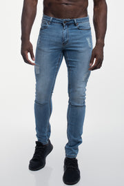 Slim Athletic Fit in Destroyed Light Distressed - thumbnail image no.1