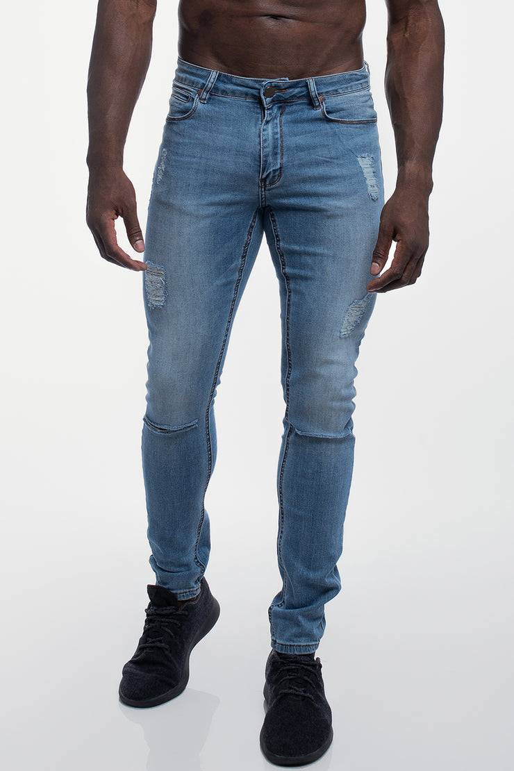 Slim Athletic Fit in Destroyed Light Distressed - image no.1