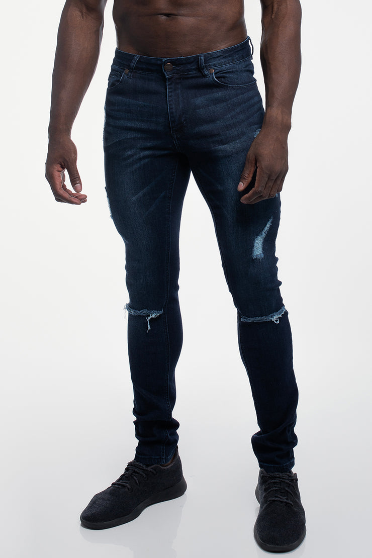 Slim Athletic Fit in Destroyed Dark Distressed