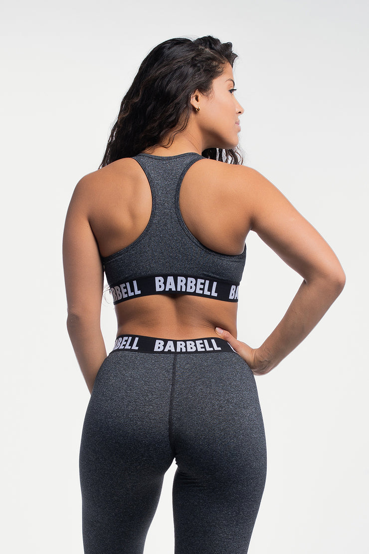 Barbell Sports Bra in Static Gray