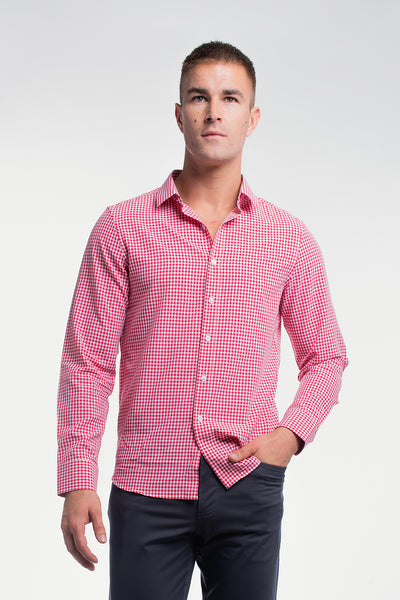 Motive Dress Shirt in Red Gingham