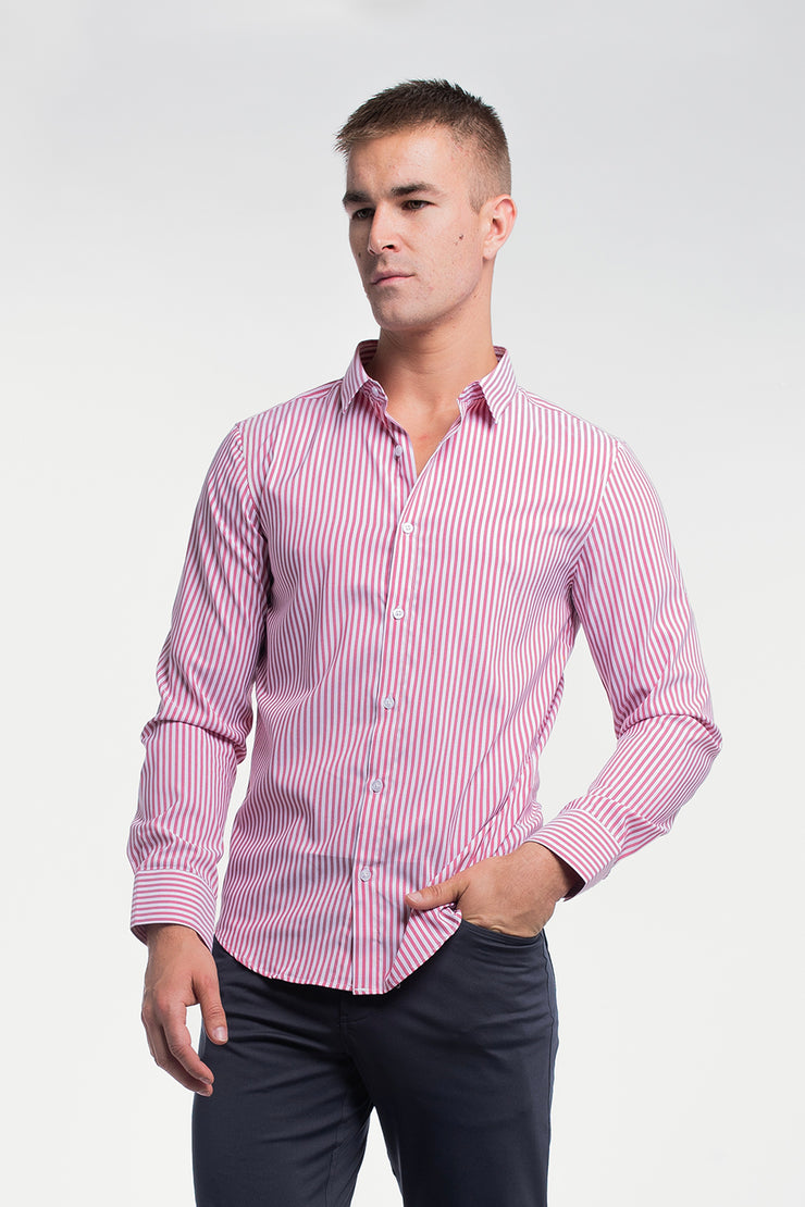 Motive Dress Shirt in Red Stripe
