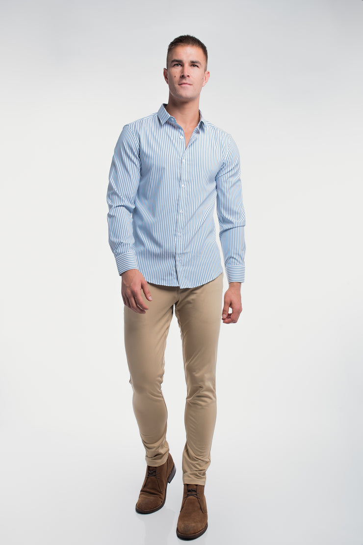 Motive Dress Shirt in Blue Stripe