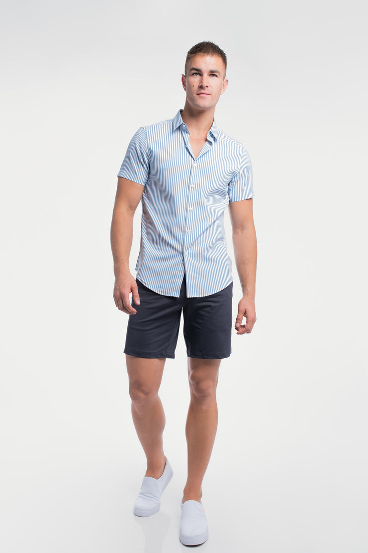 Motive Short Sleeve Dress Shirt in Steel Stripe - image no.2