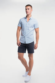 Motive Short Sleeve Dress Shirt in Steel Stripe - thumbnail image no.5