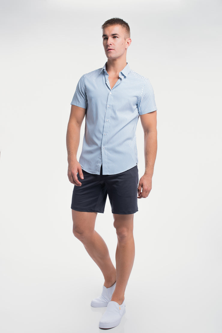 Motive Short Sleeve Dress Shirt in Steel Stripe - image no.5
