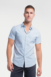Motive Short Sleeve Dress Shirt in Steel Stripe