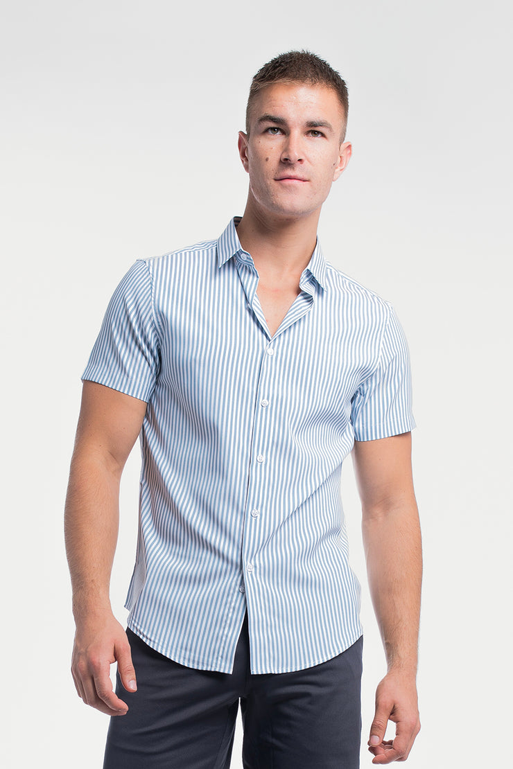 Motive Short Sleeve Dress Shirt in Steel Stripe - image no.4