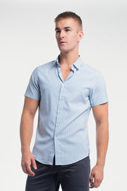 Motive Short Sleeve Dress Shirt in Steel Stripe - thumbnail image no.1