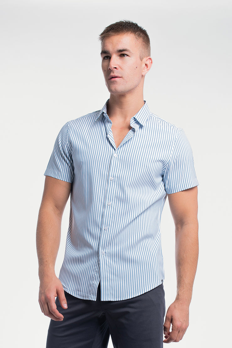 Motive Short Sleeve Dress Shirt in Steel Stripe - image no.1