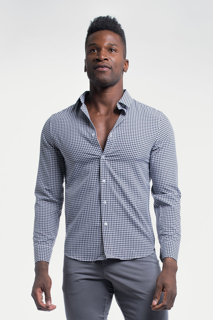 Motive Dress Shirt in Black Gingham - image no.1