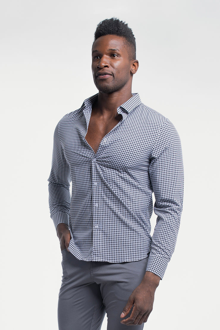 Motive Dress Shirt in Black Gingham - image no.4