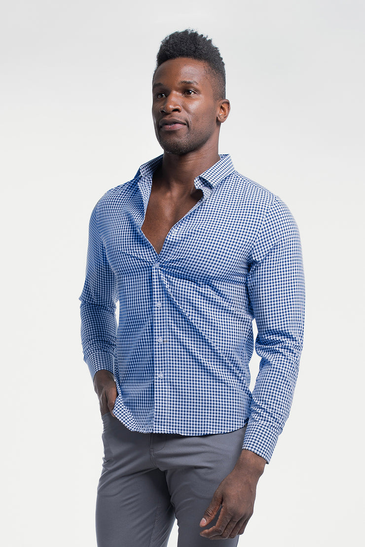 Motive Dress Shirt in Blue Gingham