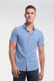 Motive Short Sleeve Dress Shirt in Blue Gingham