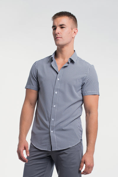 Motive Short Sleeve Dress Shirt in Black Gingham