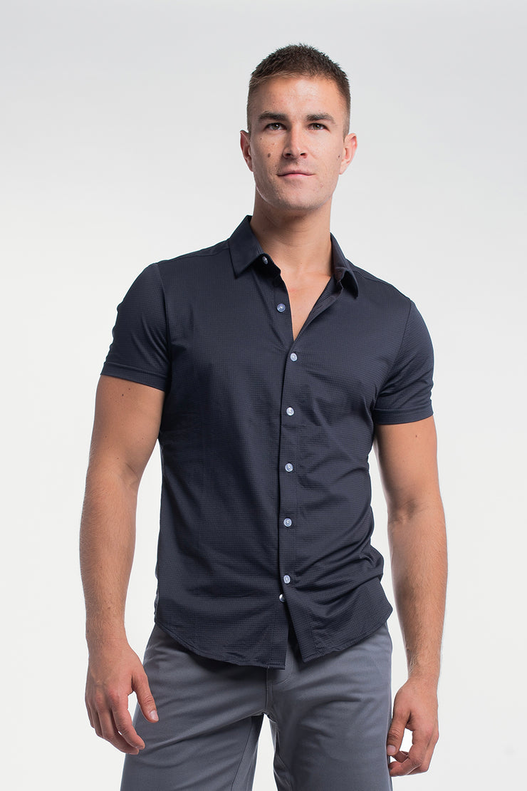 Motive Short Sleeve Dress Shirt in Navy