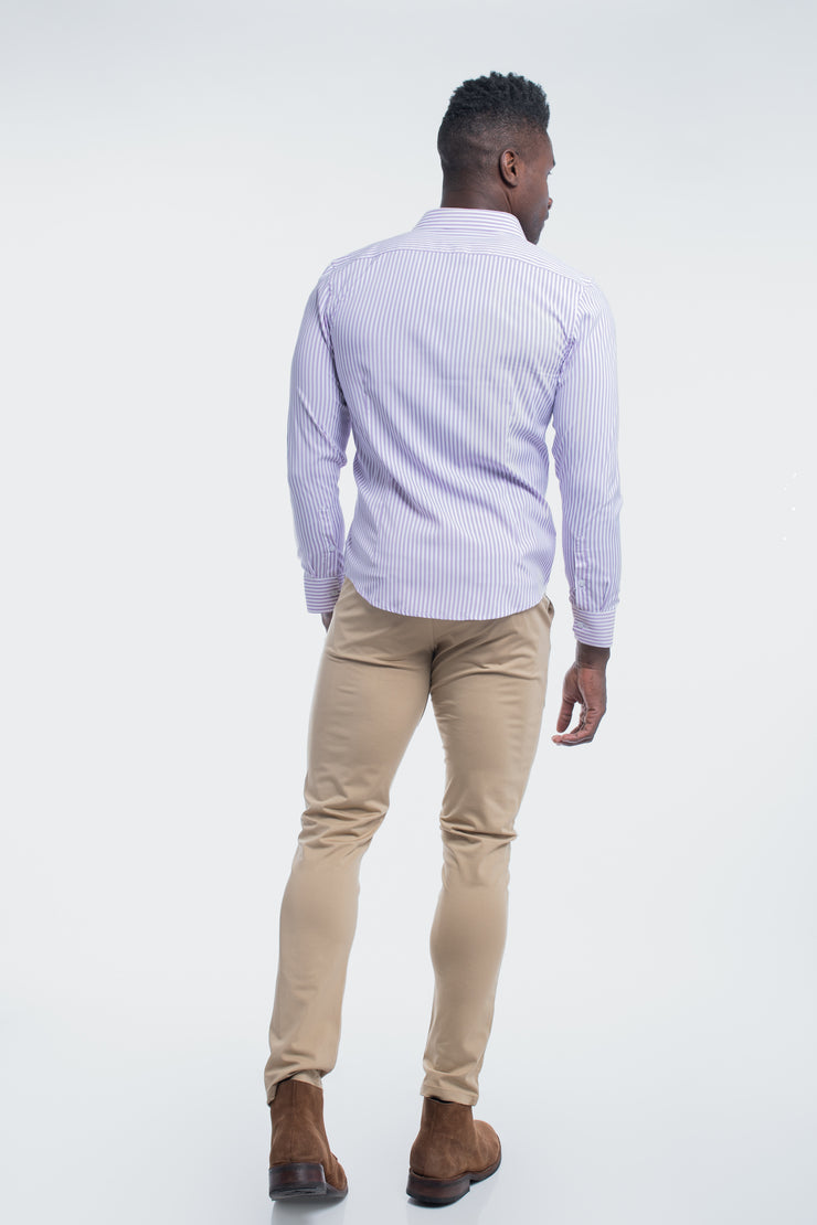 Motive Dress Shirt in Purple Stripe