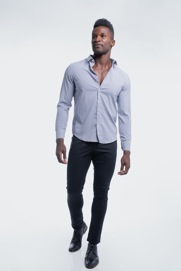 Motive Dress Shirt in Black Stripe - image no.5