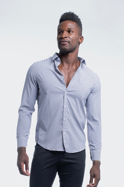 Motive Dress Shirt in Black Stripe