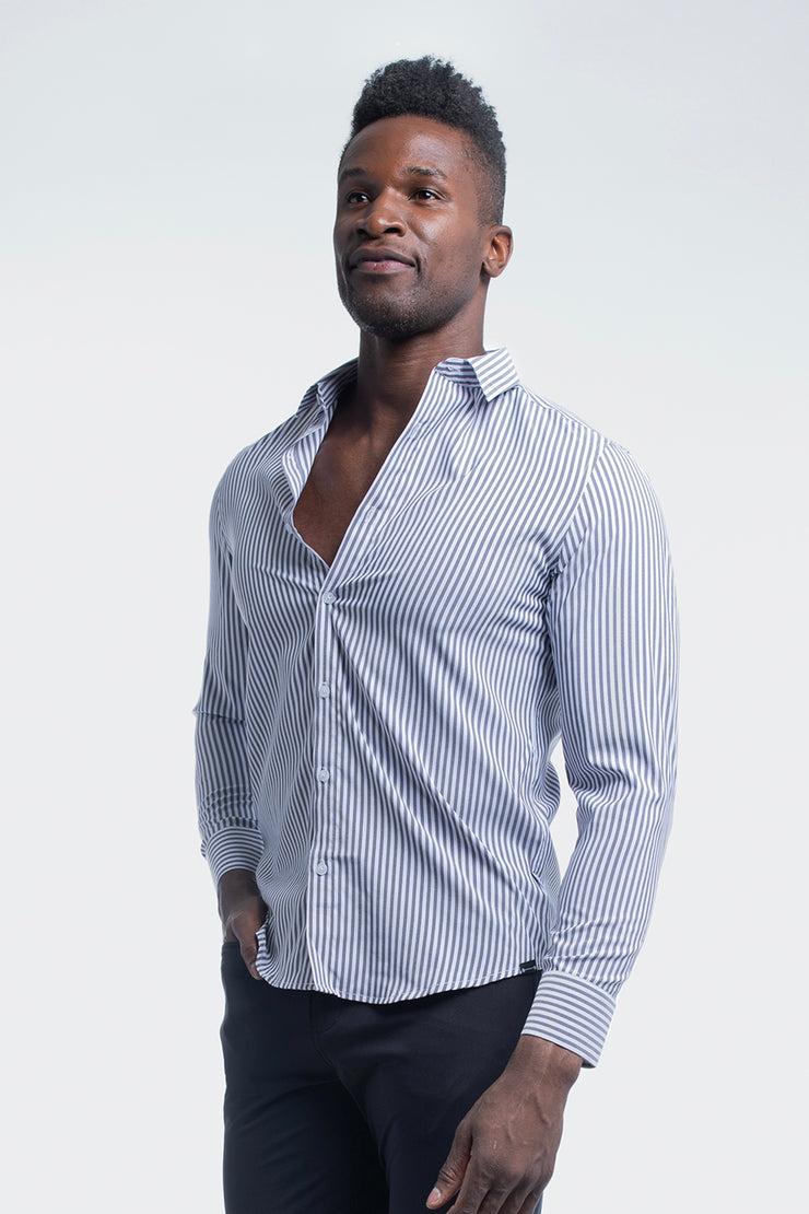 Motive Dress Shirt in Black Stripe - image no.4