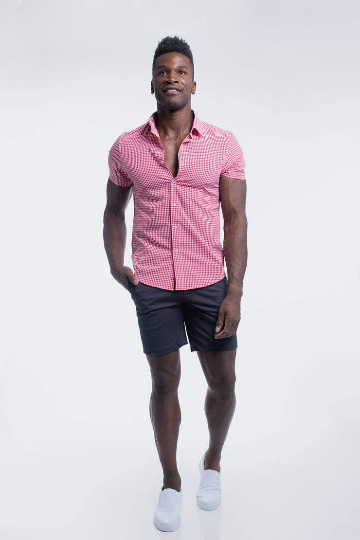 Motive Short Sleeve Dress Shirt in Red Gingham - image no.5