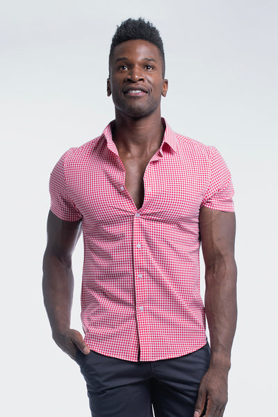 Motive Short Sleeve Dress Shirt in Red Gingham