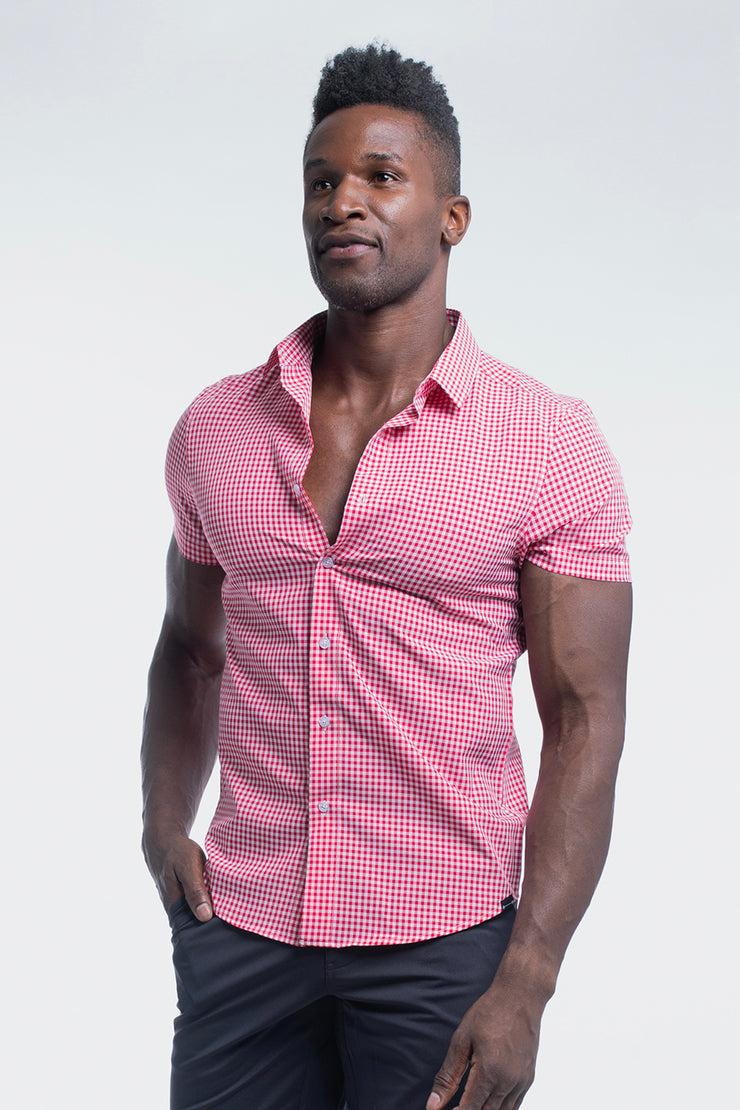 Motive Short Sleeve Dress Shirt in Red Gingham - image no.4