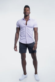 Motive Short Sleeve Dress Shirt in Purple Stripe
