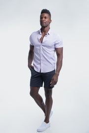 Motive Short Sleeve Dress Shirt in Purple Stripe - thumbnail image no.2