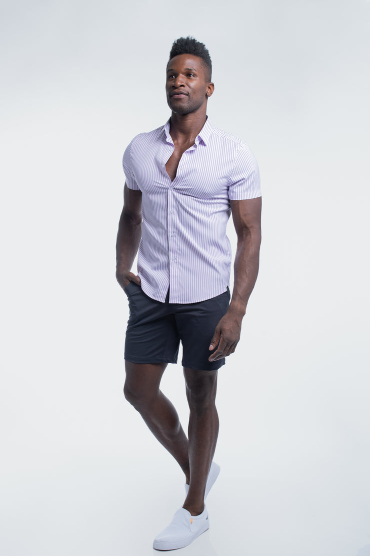 Motive Short Sleeve Dress Shirt in Purple Stripe - image no.2