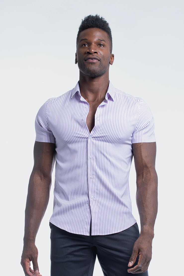 Motive Short Sleeve Dress Shirt in Purple Stripe - image no.1