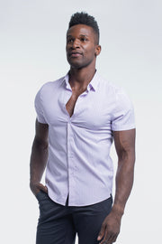 Motive Short Sleeve Dress Shirt in Purple Stripe - thumbnail image no.4
