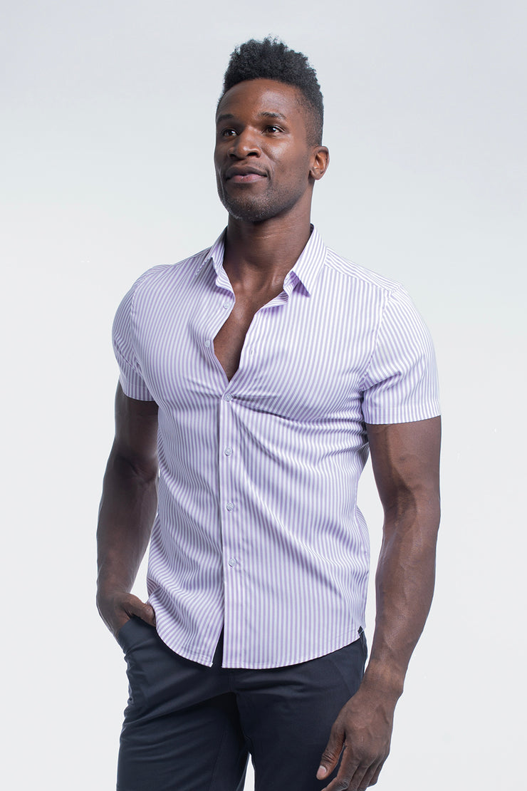 Motive Short Sleeve Dress Shirt in Purple Stripe - image no.4