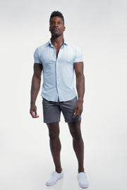 Motive Short Sleeve Dress Shirt in Blue - thumbnail image no.5