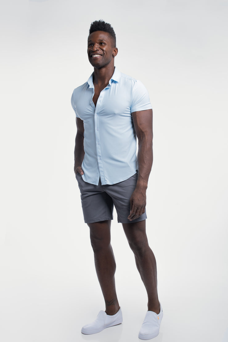 Motive Short Sleeve Dress Shirt in Blue - image no.2