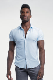 Motive Short Sleeve Dress Shirt in Blue - thumbnail image no.1