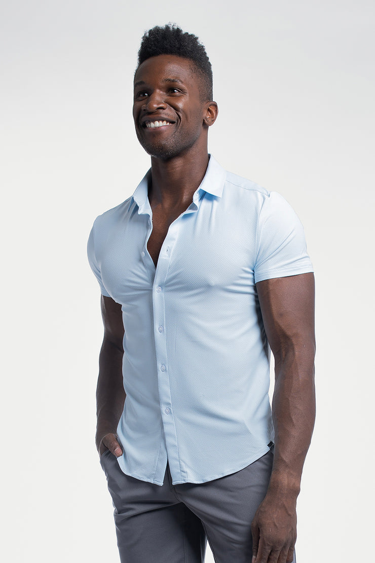 Motive Short Sleeve Dress Shirt in Blue - image no.4