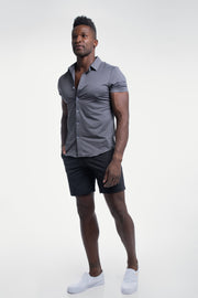 Motive Short Sleeve Dress Shirt in Gray - thumbnail image no.5