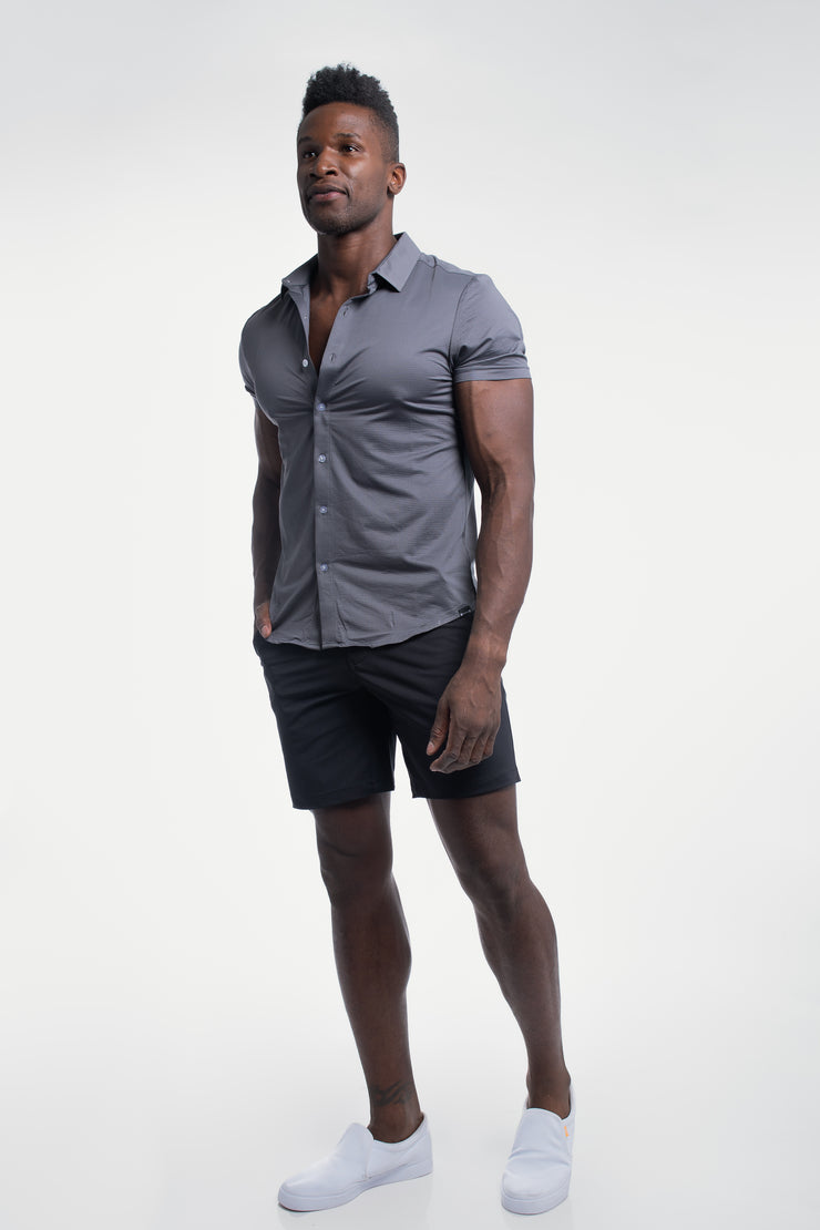 Motive Short Sleeve Dress Shirt in Gray