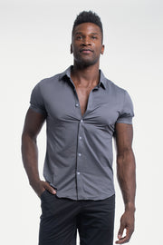 Motive Short Sleeve Dress Shirt in Gray - thumbnail image no.1