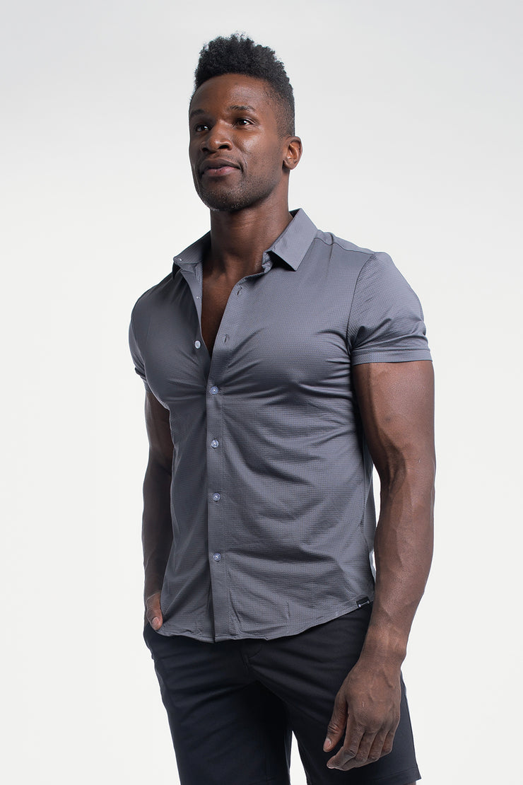 Motive Short Sleeve Dress Shirt in Gray - image no.2