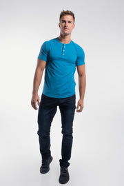 Scout Short Sleeve Henley in Steel