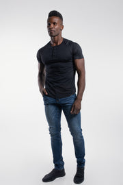 Scout Short Sleeve Henley in Black - thumbnail image no.2